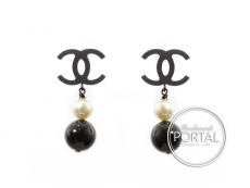 Chanel Earrings - CC Classic in Rhodium with Drop Black and  ...