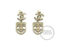 Chanel Earrings - CC Classic in Gold Coat of Arms Shield wit ...