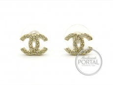 Chanel Earrings - CC Classic Mini Gold with Crystals