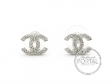 Chanel Earrings - CC Classic Mini Silver with Crystals
