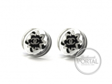 Chanel Earrings - CC Classic Acrylic Circle Clear with Black ...