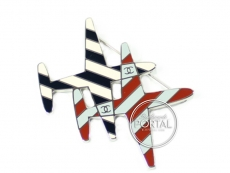 Chanel Brooch -Airline Double Red & Blue Aeroplane