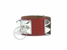 Hermes Collier De Chien - Rouge H in Croc with Palladium Hardware S