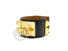 Hermes Collier De Chien - Black in Alligator with Gold Hardw ...
