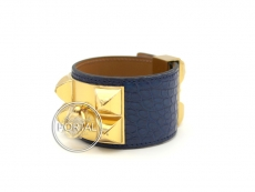 Hermes Collier De Chien - Bleu De Malte in Alligator with Go ...