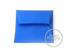Hermes Bastia Coin Purse - Blue Hydra in Chevre