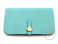 Hermes Dogon Wallet - Bleu Atoll in togo with Gold hardware