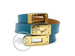 Kelly Double Tour - Bleu Izmir in Swift with Gold hardware S