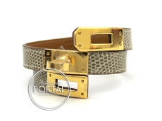 Kelly Double Tour - Ficelle in Lizard with Gold hardware XS