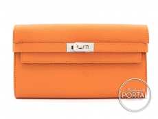 Hermes Kelly Long Wallet - Orange in Chèvre with Palladium  ...