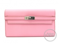 e14d3cafee Hermes Kelly Long Wallet - 5P Pink in Epsom with Palladium h .