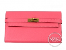 Hermes Kelly Long Wallet - Rose Azelee in Epsom with Gold ha ...