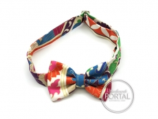 Hermes Mini Bow Tie - Papillon - White / Blues / Orange / Pi ...