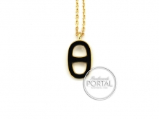 Hermes Lliade Necklace - Black in Gold Hardware