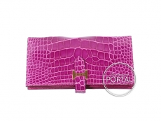 Hermes Bearn Long Wallet - Rose Scheherazade in Alligator wi ...