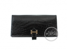 Hermes Bearn Long Wallet - Black in Alligator with Rose Gold ...
