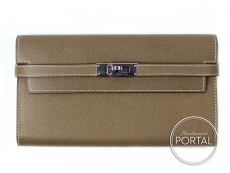 Hermes Kelly Long Wallet - Etoupe in Epsom with Palladium ha ...