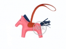 Hermes Bag Charm - Rodeo Charm in Rose Azalee/Blue azteque M ...