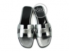 Hermes Sandal Oran - Silver in Calf Leather