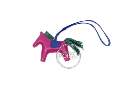 Hermes Bag Charm - Rodeo Charm in Rose Pourpre / Malachite / ...