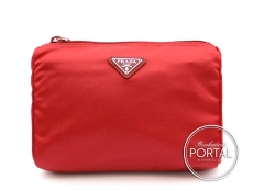 Prada Cosmetic Pouch - Rosso in Vela with Silver Hardware (M ...