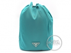 Prada Drawstring Pouch - Turchese in Vela with Silver hardwa ...