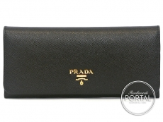 Prada Long Wallet - Pattina - Nero in Saffiano with Gold har ...