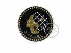 Chanel Brooch -Mademoiselle Resin & Glass Gold with Pearls